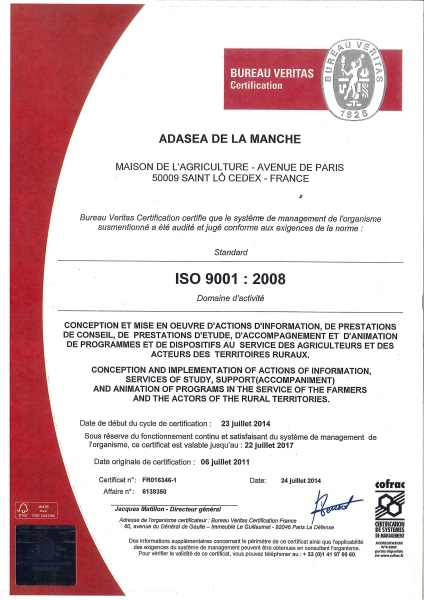 Attestion ISO 9001 ADASEA